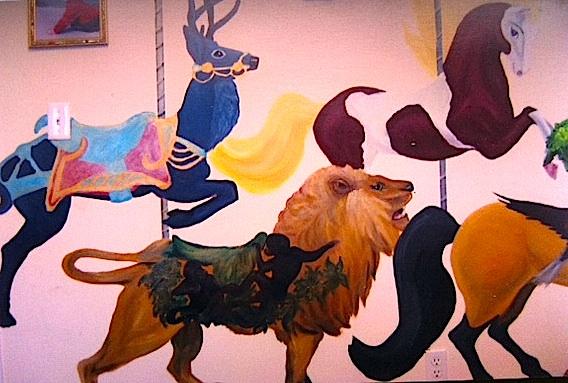 lion, deer