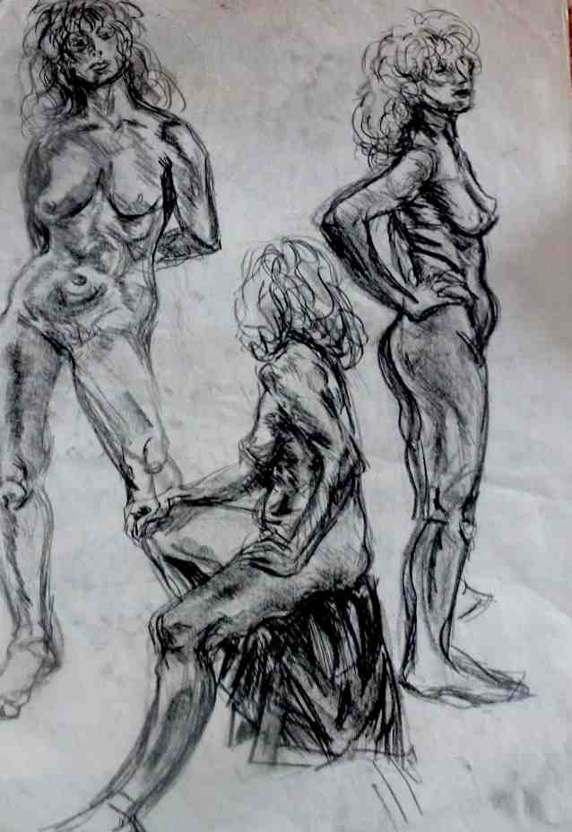 Upright nude trio/charcoal