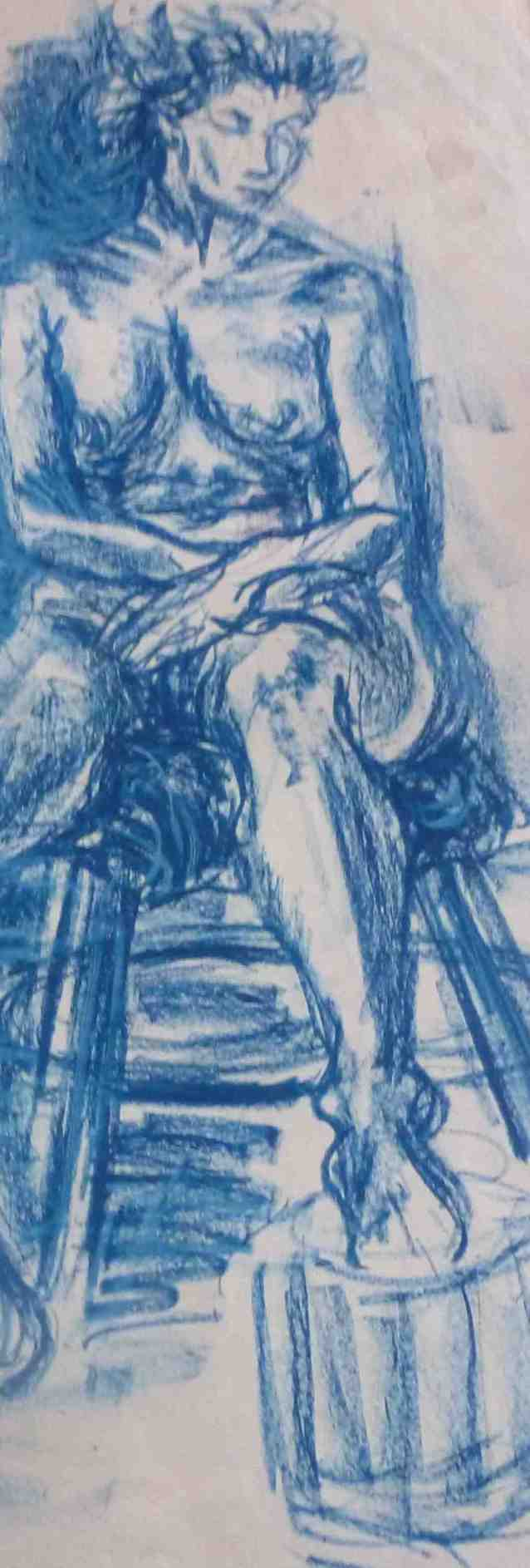 Seated blue nude/charcoal