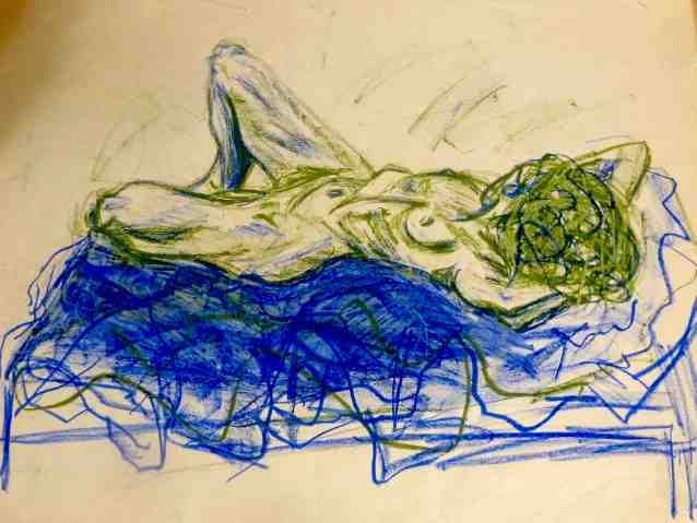 Reclining green nude/charcoal