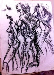 Three nude/charcoal