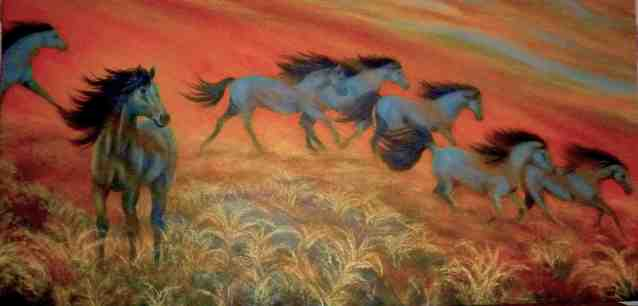 blue horses less or