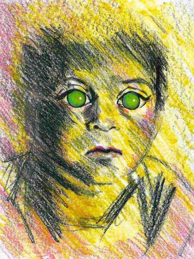 boy with green glowing eyes