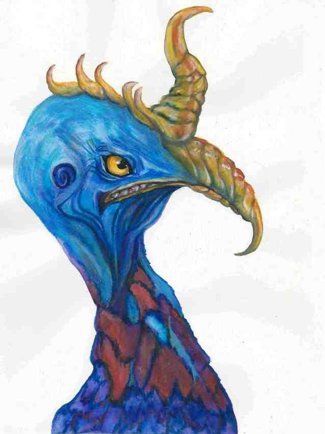 two horned blue bird