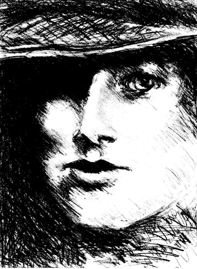 woman with straw hat black